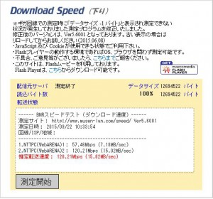 BNRスピードテスト測定画面